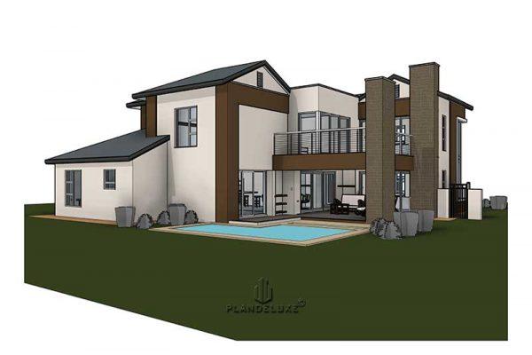 Modern 2 Story House 4 bedroom modern house designs Plandeluxe