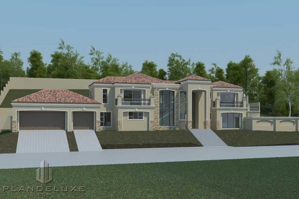 Modern house plan with three garages, luxury house floor plans, tuscan house designs, double story house plans, Plandeluxe