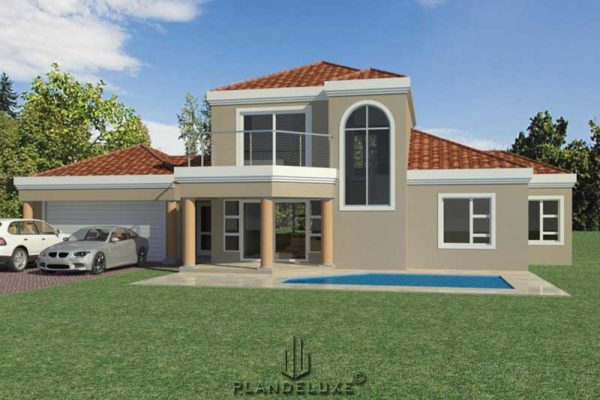 3 bedroom house plan South Africa with double garage, double story house plan with photos, Ground floor plan, pdf house plans free download, Plandeluxe