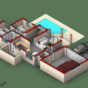 3 bedroom house plan with double garage, Ground floor plan, Plandeluxe