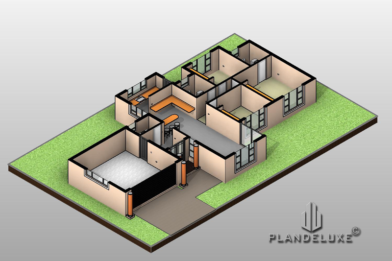 3 Bedrooms Single Story House Plans With Photos 171sqm Plandeluxe