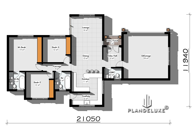 3 Bedrooms Single Story House Plans With Photos [171sqm ...
