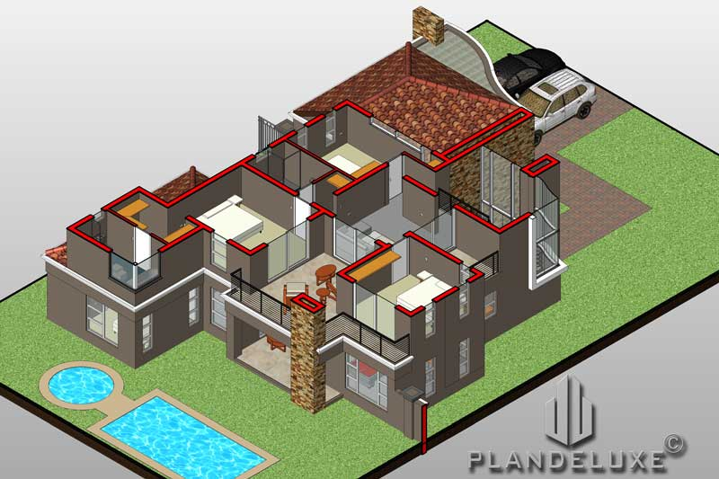 Modern 4 Bedroom Double Story House Floor Plan 326sqm ...