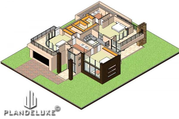 Modern double story house plan design modern house plan with garages Plandeluxe