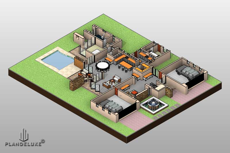 Double Story 4 Bedroom House Plan Modern House Plans Plandeluxe