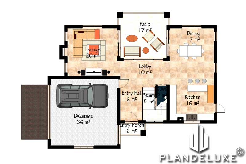 Simple 3 Bedroom House Plans With A Garage Bali Style Plandeluxe