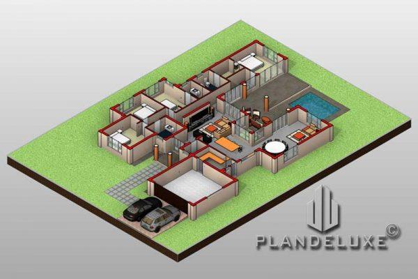 U shaped house plans floor plan layout 3D floor plan 4 bedroom house plans 1 story floor plans Plandeluxe